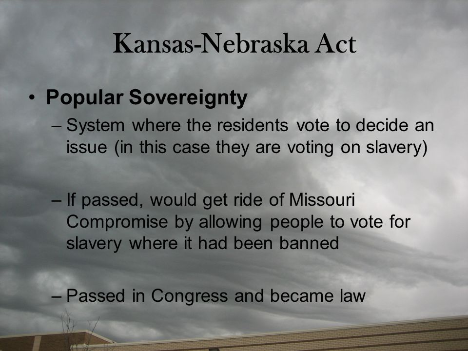Kansas-Nebraska Act Popular Sovereignty