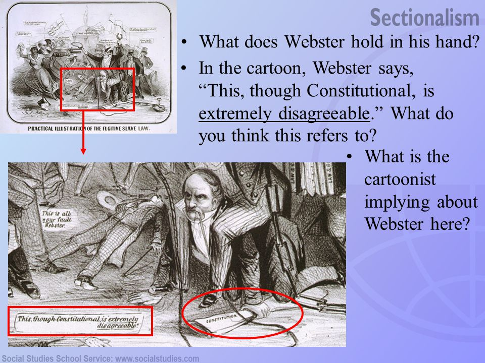 What does Webster hold in his hand