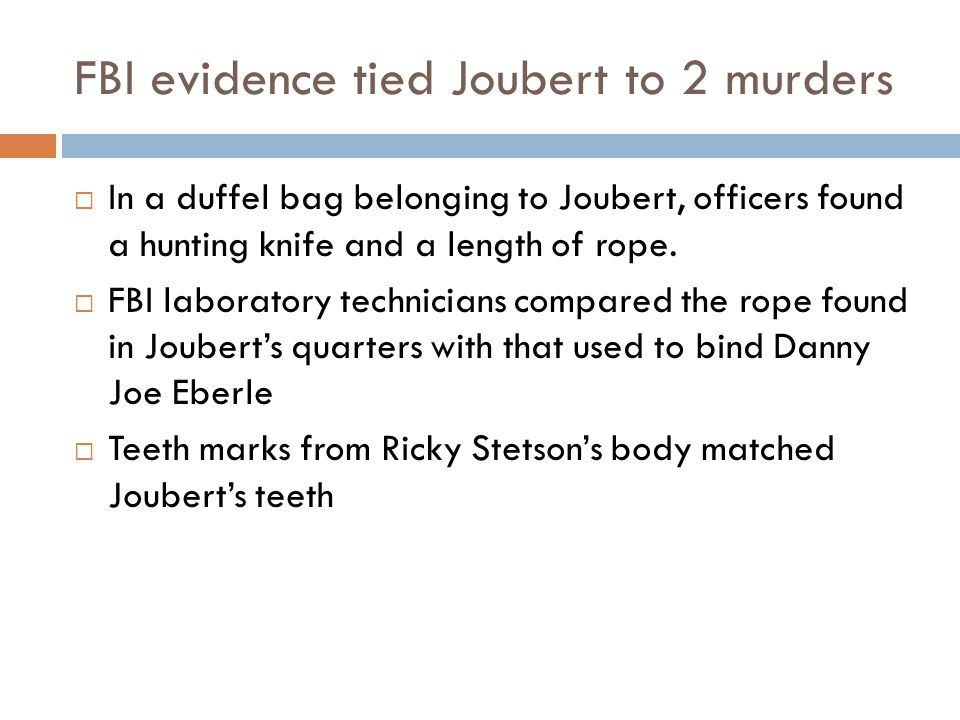 FBI evidence tied Joubert to 2 murders