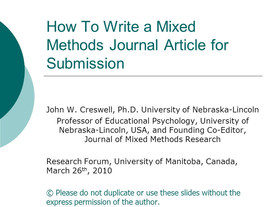 How To Write a Mixed Methods Journal Article for Submission