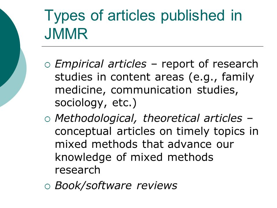 Types of articles published in JMMR