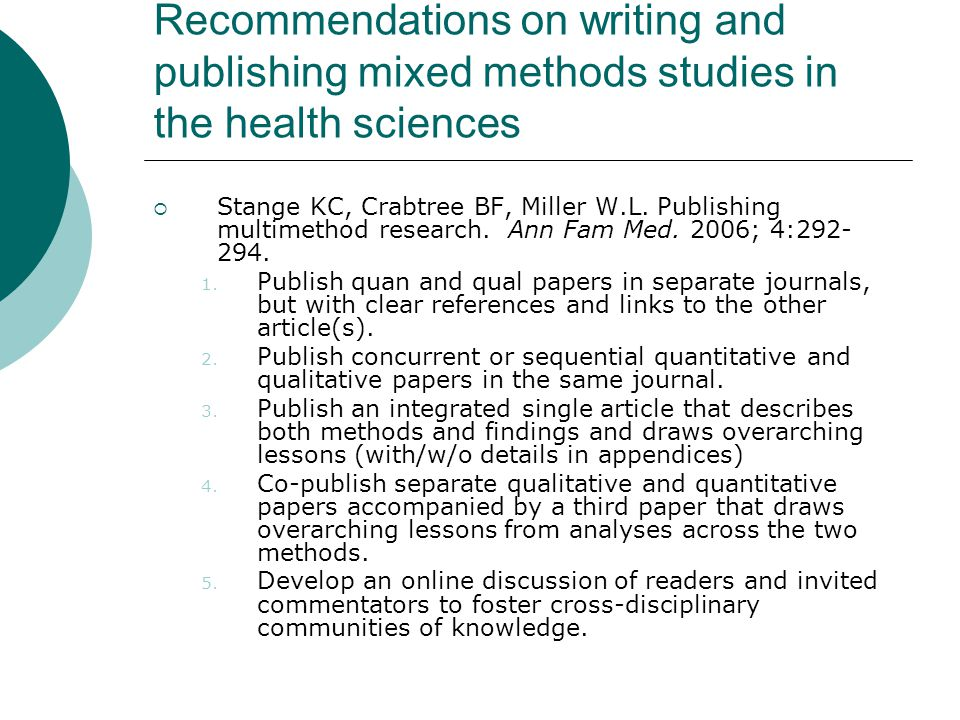 Recommendations on writing and publishing mixed methods studies in the health sciences