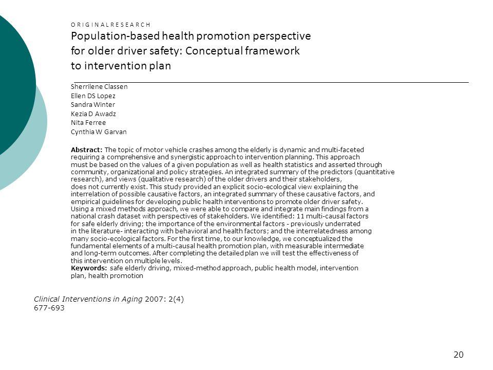 Population-based health promotion perspective