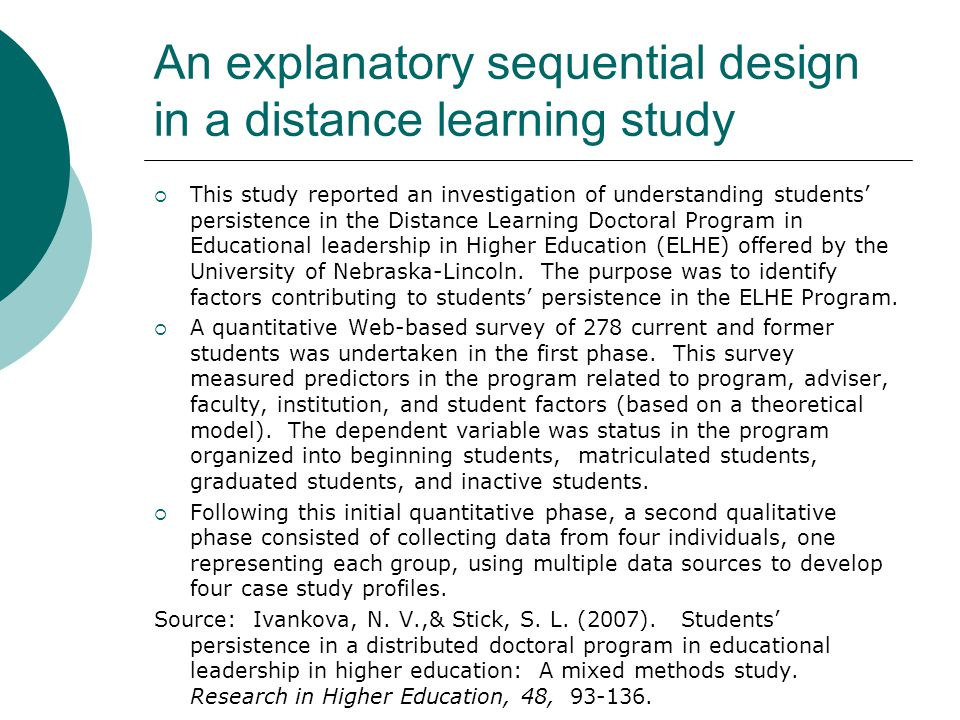 An explanatory sequential design in a distance learning study