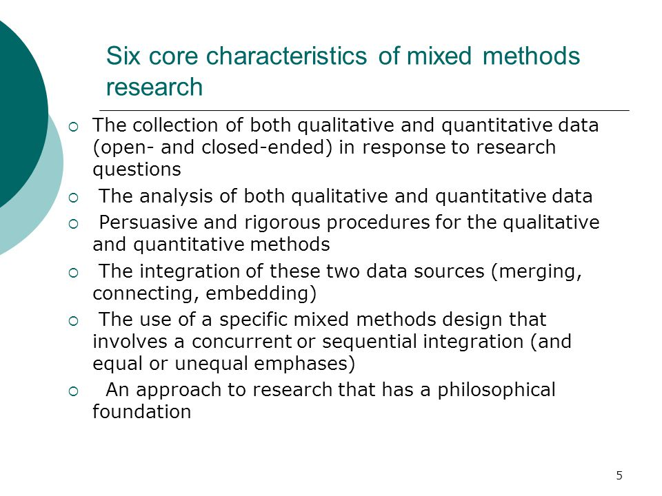 Six core characteristics of mixed methods research