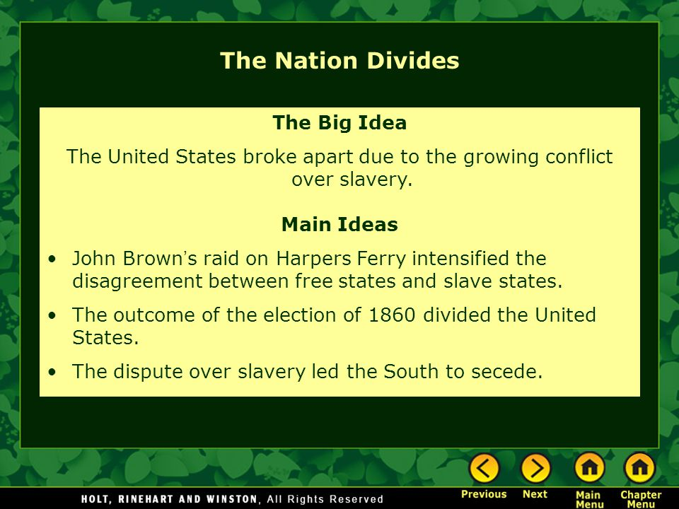 The Nation Divides The Big Idea