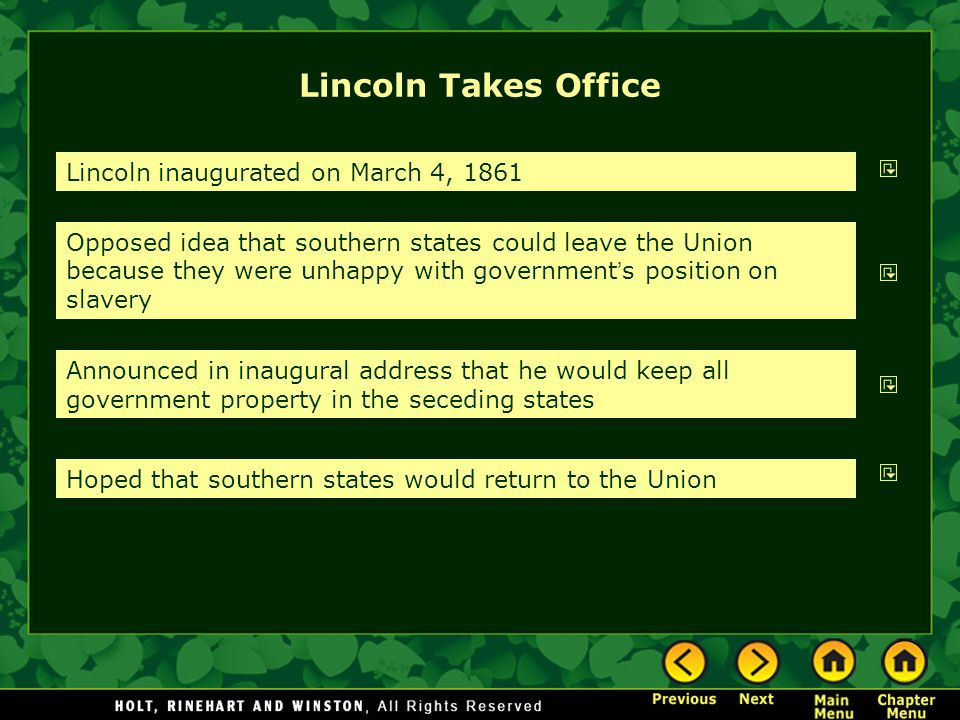 Lincoln Takes Office Lincoln inaugurated on March 4, 1861