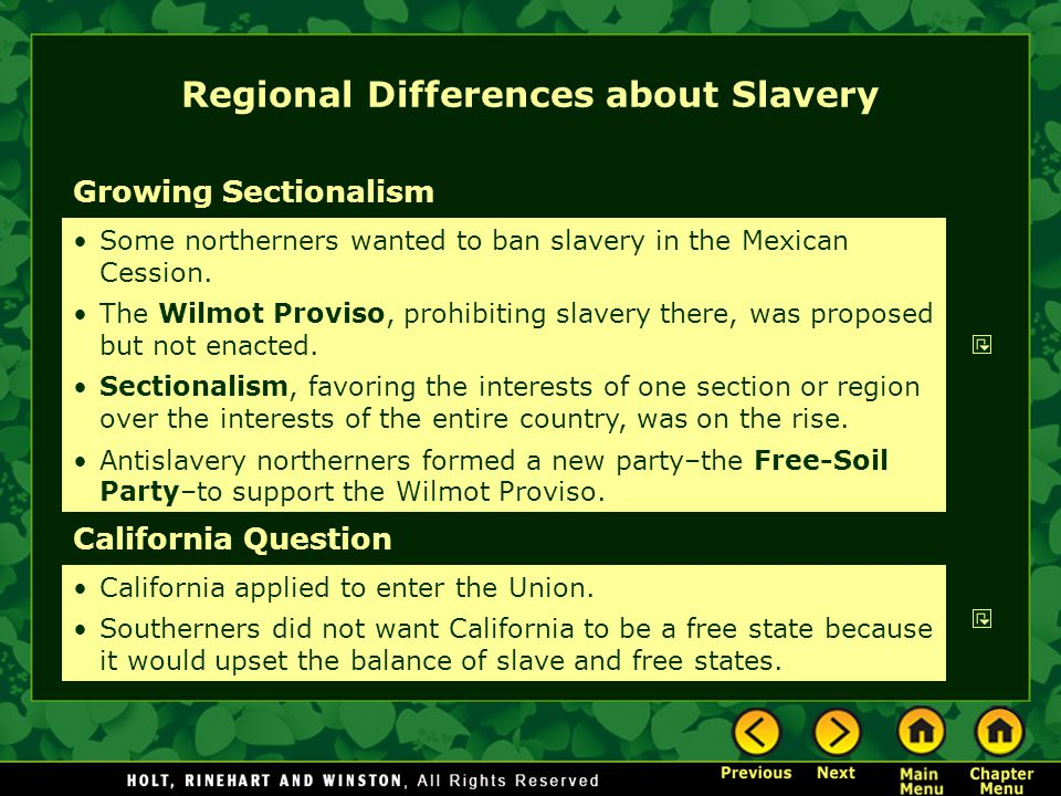 Regional Differences about Slavery