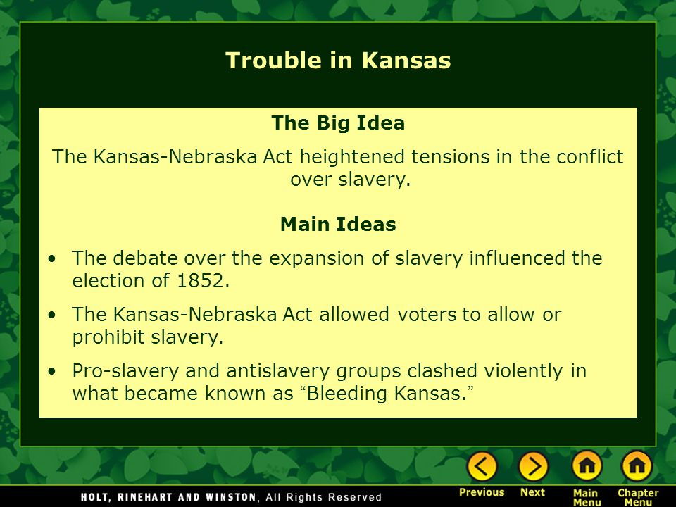 Trouble in Kansas The Big Idea