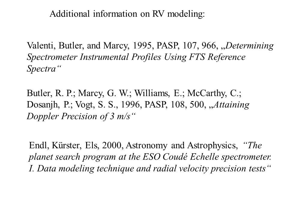 Additional information on RV modeling: