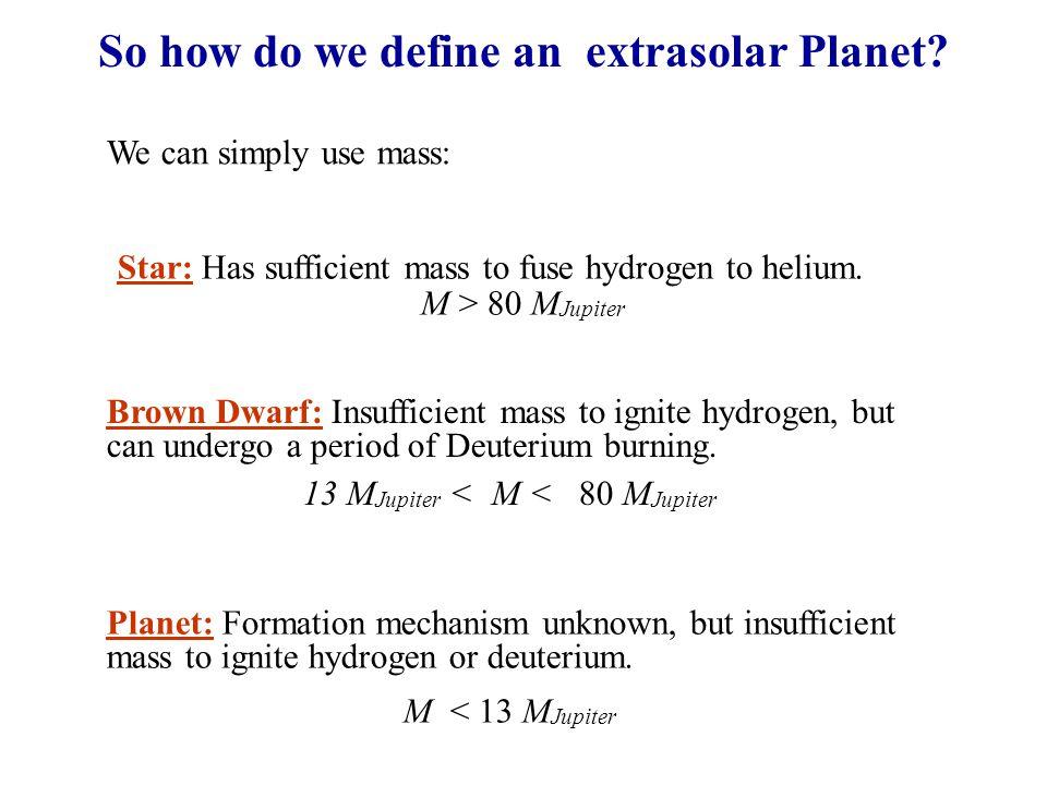 So how do we define an extrasolar Planet