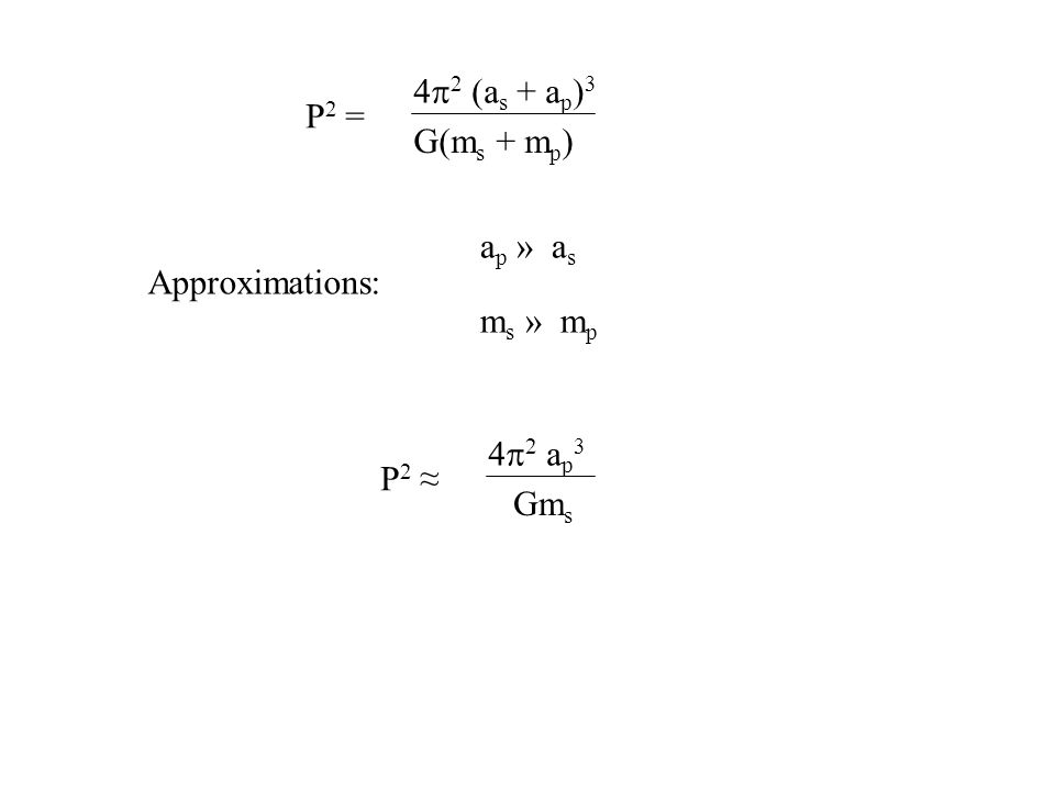 P2 = 4p2 (as + ap)3 G(ms + mp) ap » as Approximations: ms » mp P2 ≈ 4p2 ap3 Gms