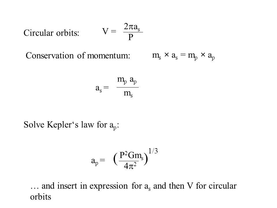( ) 2pas V = Circular orbits: P Conservation of momentum:
