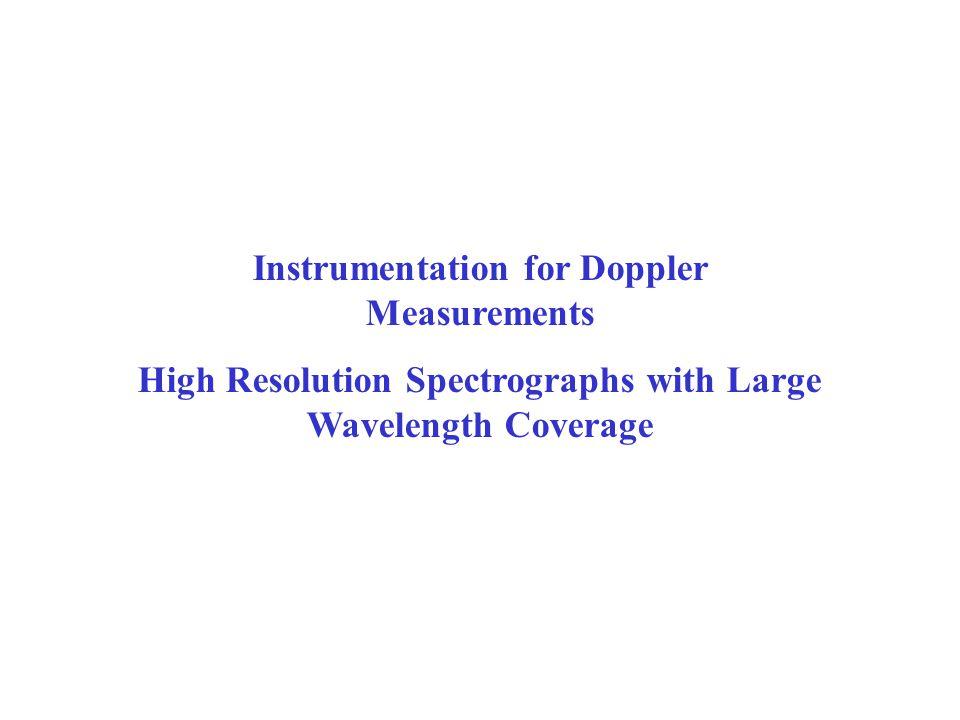Instrumentation for Doppler Measurements