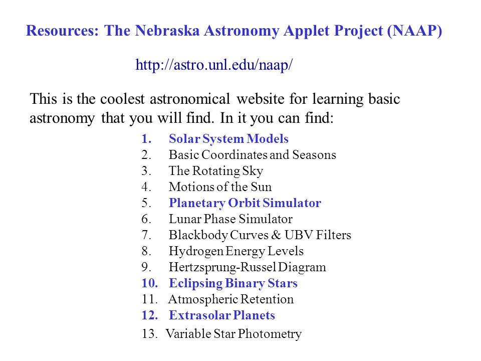 Resources: The Nebraska Astronomy Applet Project (NAAP)