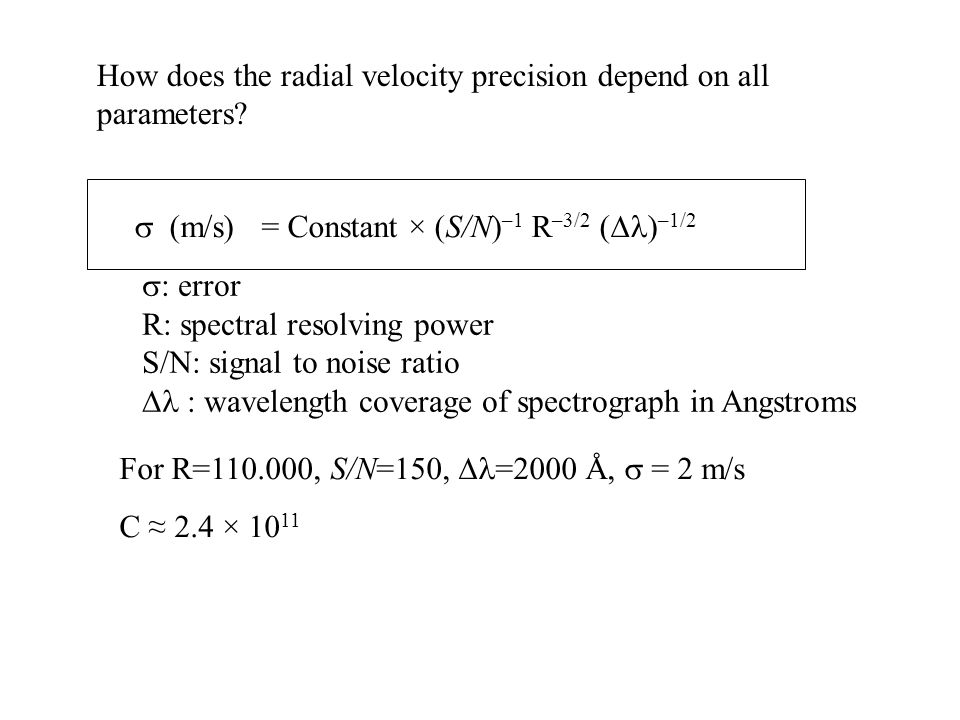How does the radial velocity precision depend on all parameters