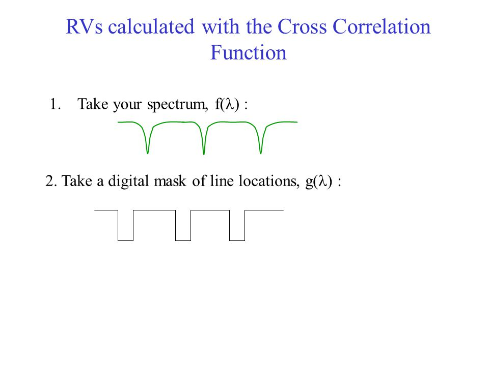 RVs calculated with the Cross Correlation Function