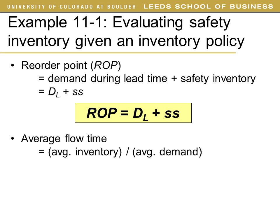 Example 11-1: Evaluating safety inventory given an inventory policy