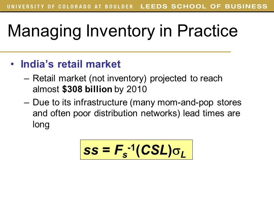 Managing Inventory in Practice
