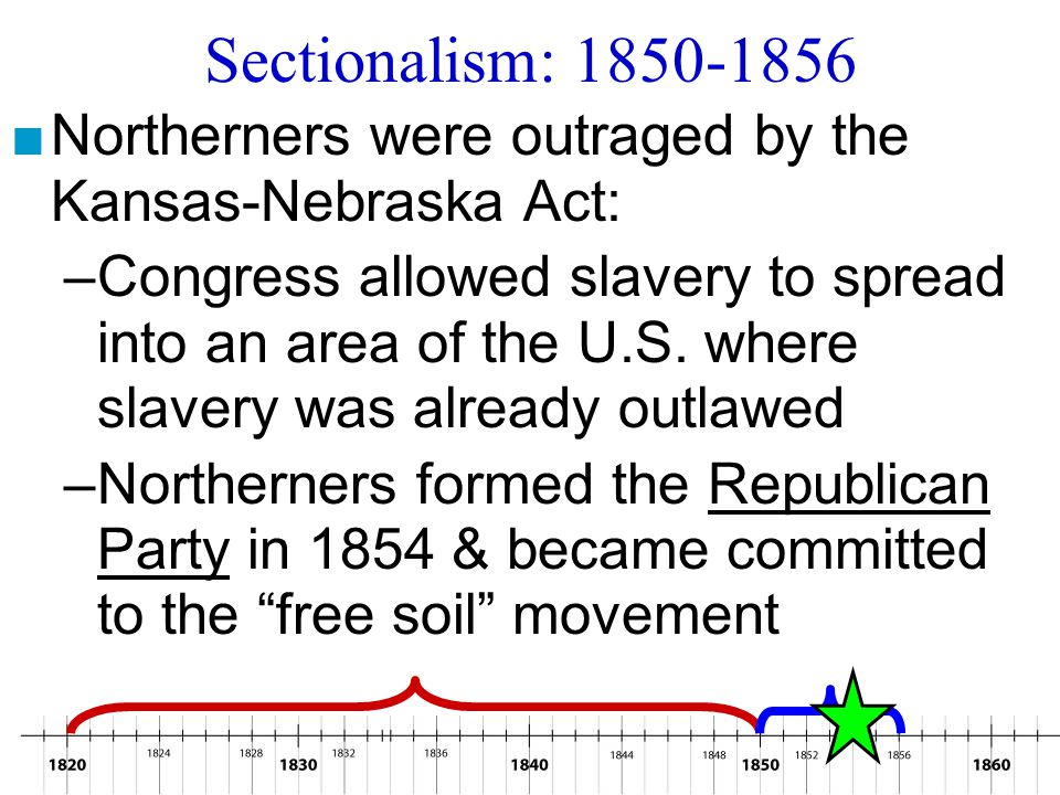 Sectionalism: 1850-1856 Northerners were outraged by the Kansas-Nebraska Act: