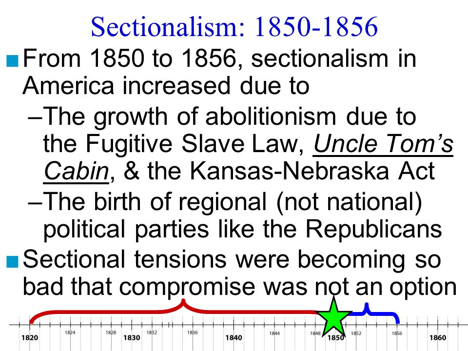 Sectionalism: 1850-1856 From 1850 to 1856, sectionalism in America increased due to.