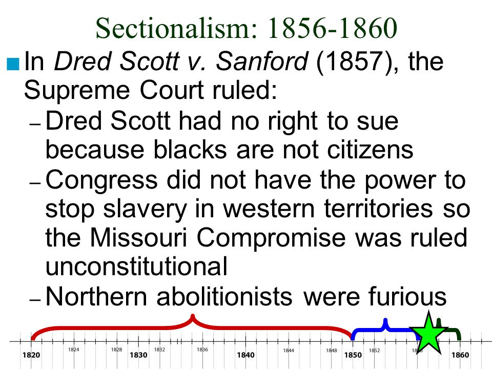 Sectionalism: 1856-1860 In Dred Scott v. Sanford (1857), the Supreme Court ruled: Dred Scott had no right to sue because blacks are not citizens.