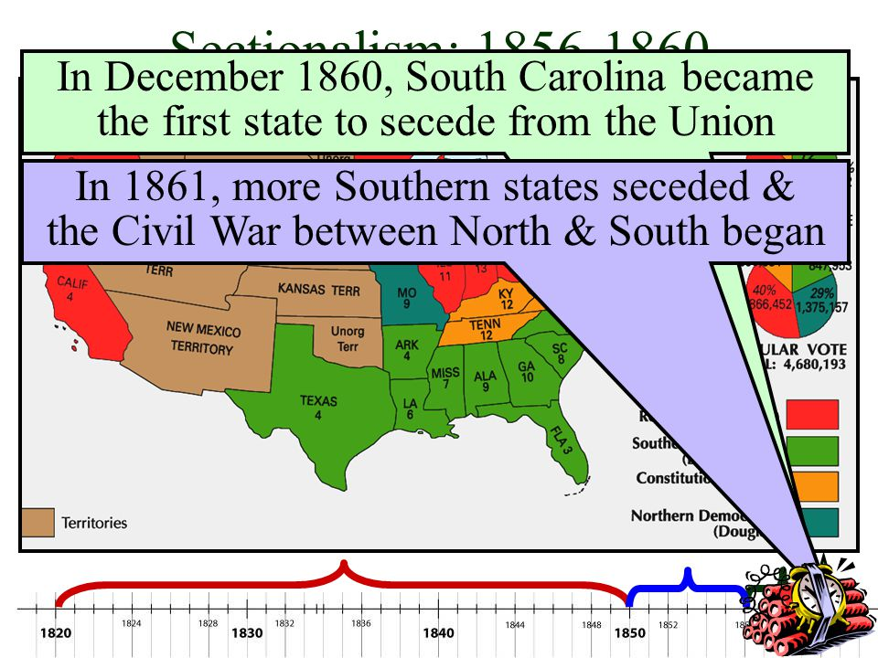 Sectionalism: 1856-1860 In December 1860, South Carolina became the first state to secede from the Union.