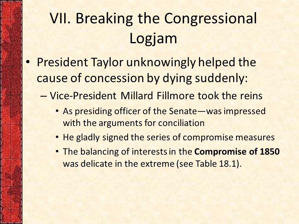 VII. Breaking the Congressional Logjam
