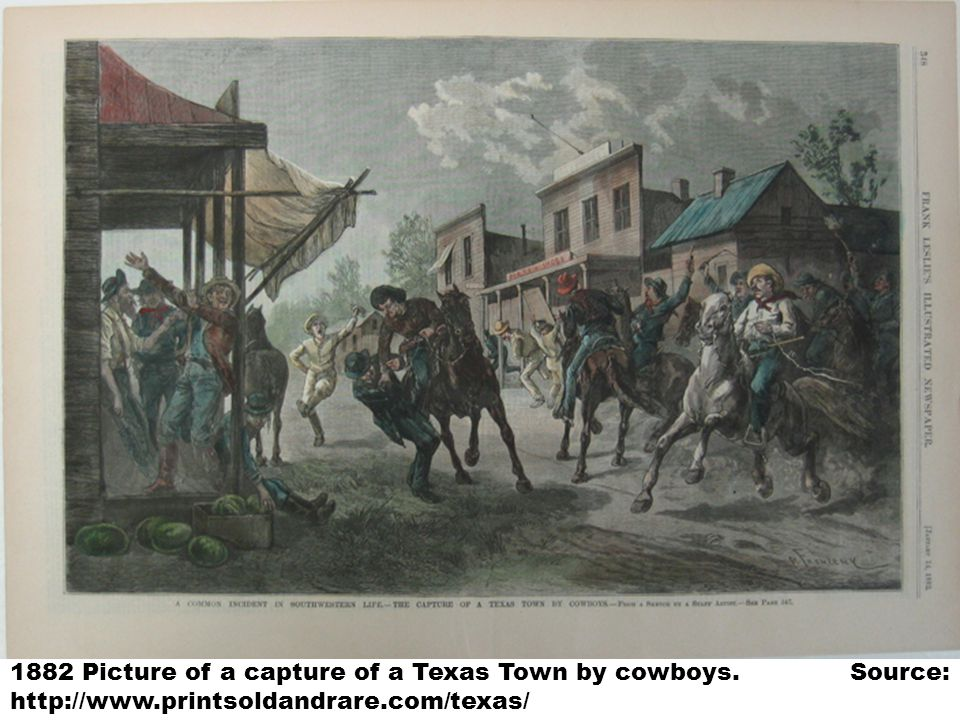 1882 Picture of a capture of a Texas Town by cowboys