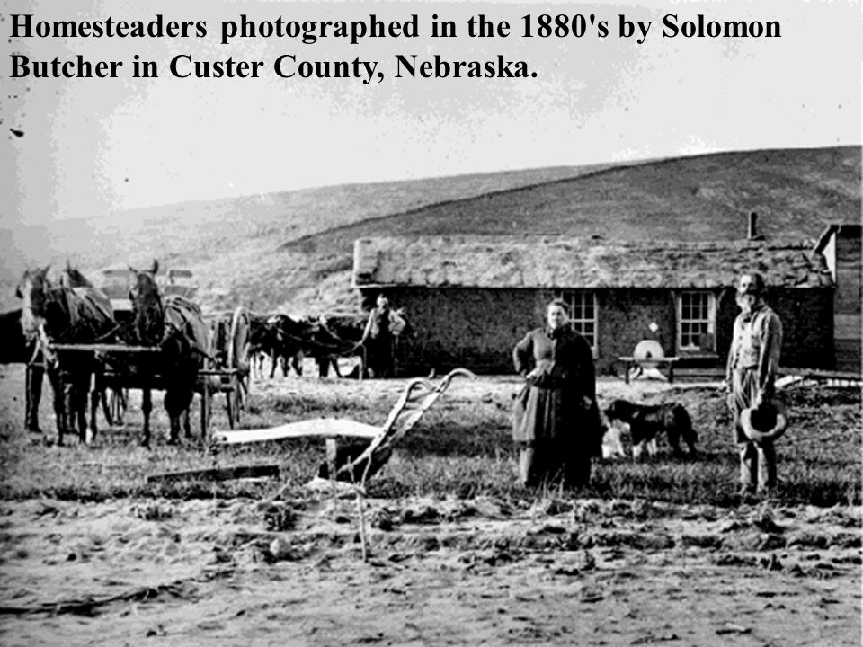 Homesteaders photographed in the 1880 s by Solomon Butcher in Custer County, Nebraska.
