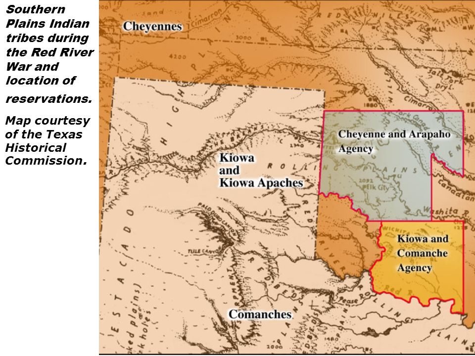 Southern Plains Indian tribes during the Red River War and location of reservations.