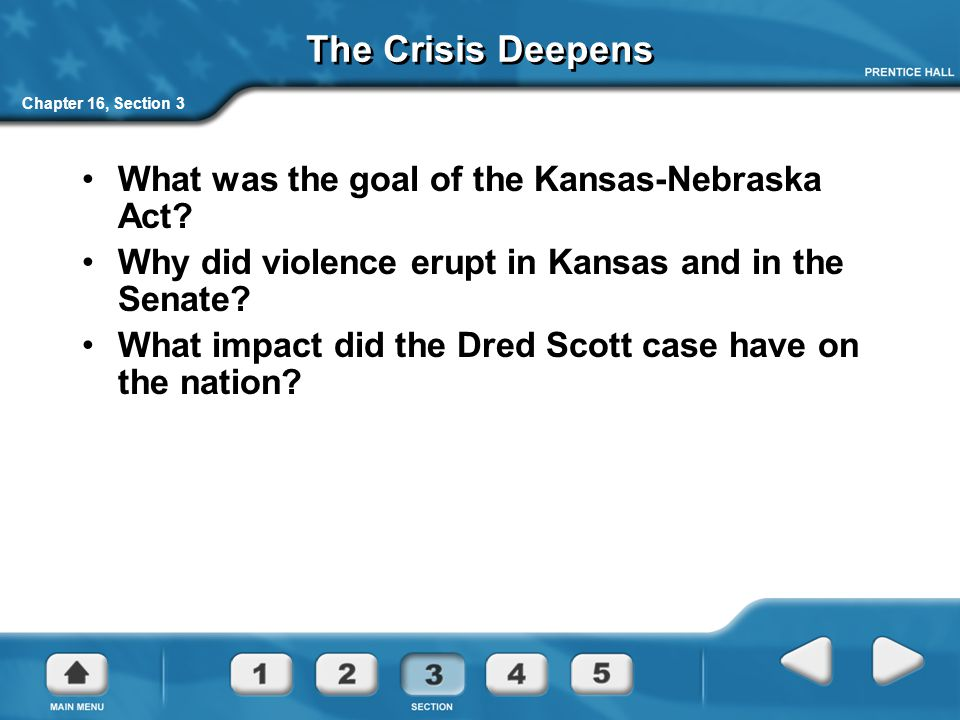 The Crisis Deepens What was the goal of the Kansas-Nebraska Act