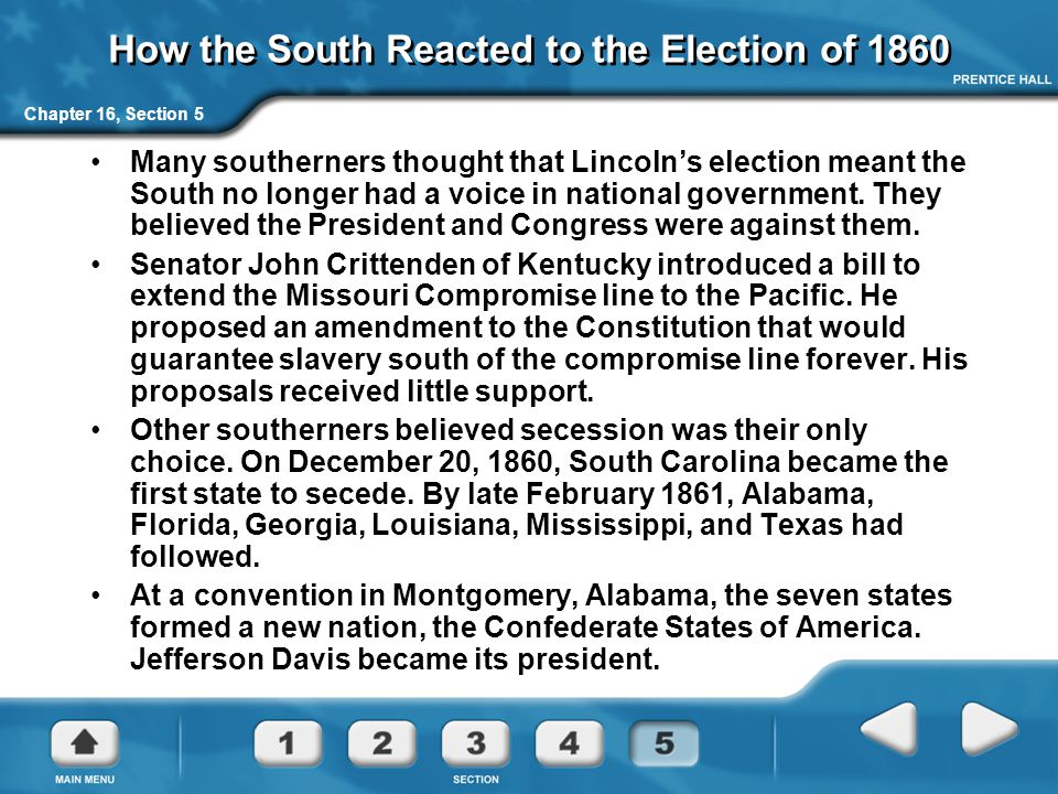 How the South Reacted to the Election of 1860