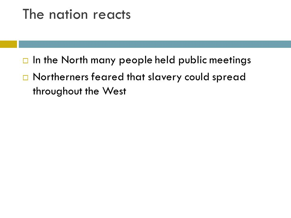 The nation reacts In the North many people held public meetings