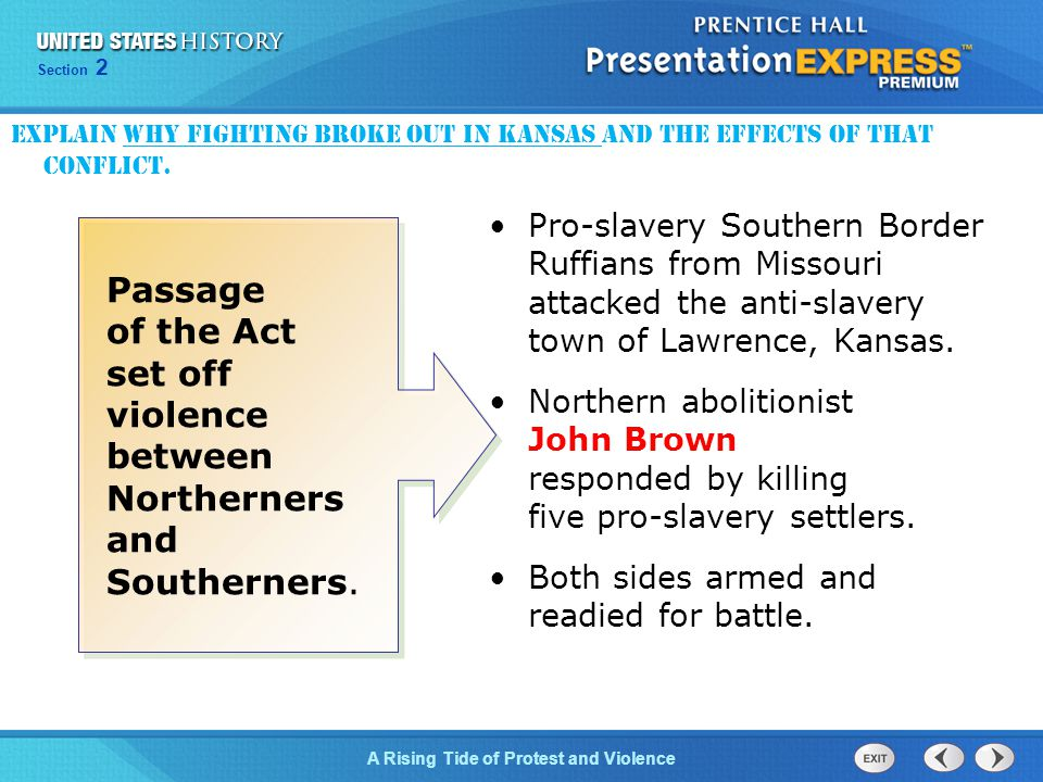 Explain why fighting broke out in Kansas and the effects of that conflict.