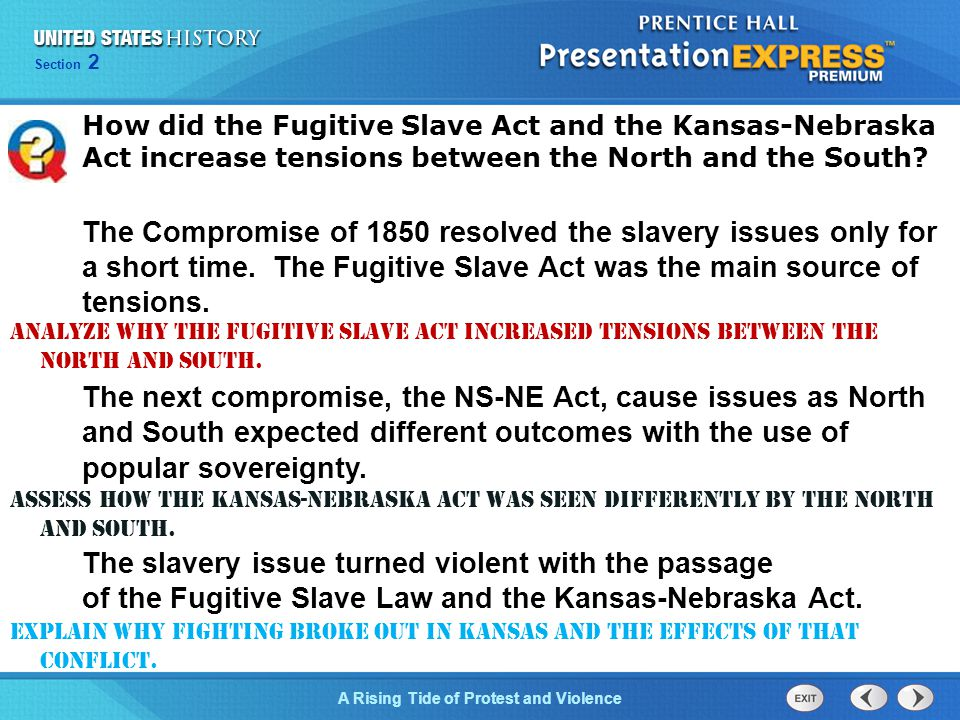 How did the Fugitive Slave Act and the Kansas-Nebraska Act increase tensions between the North and the South