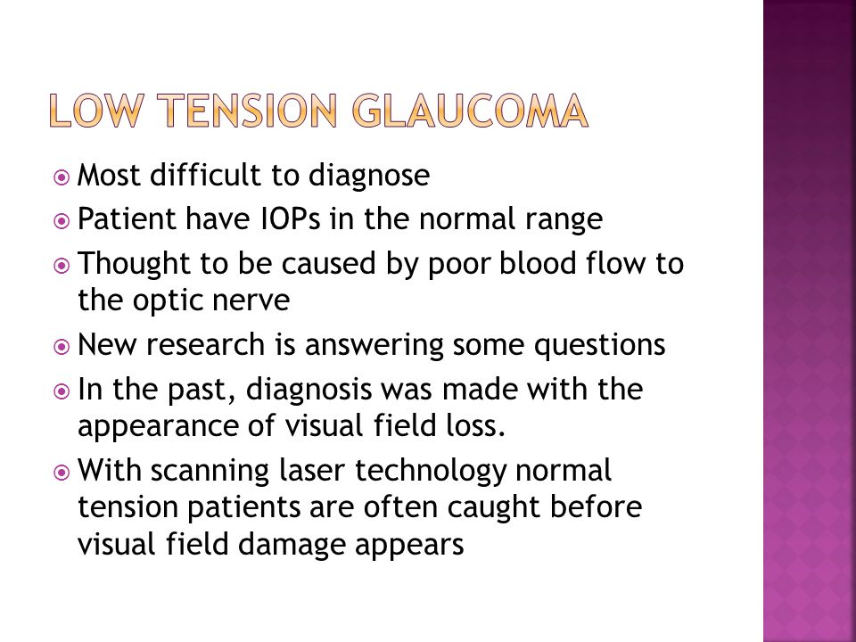 Low Tension Glaucoma Most difficult to diagnose