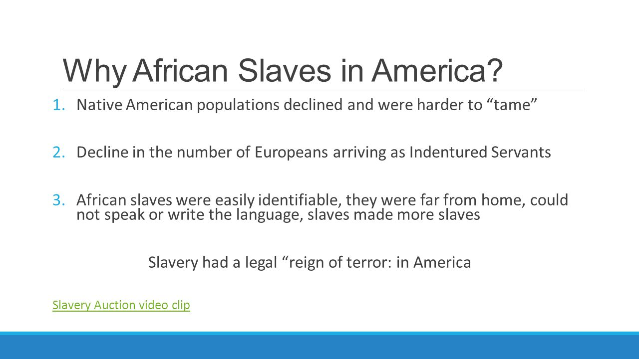 Why African Slaves in America