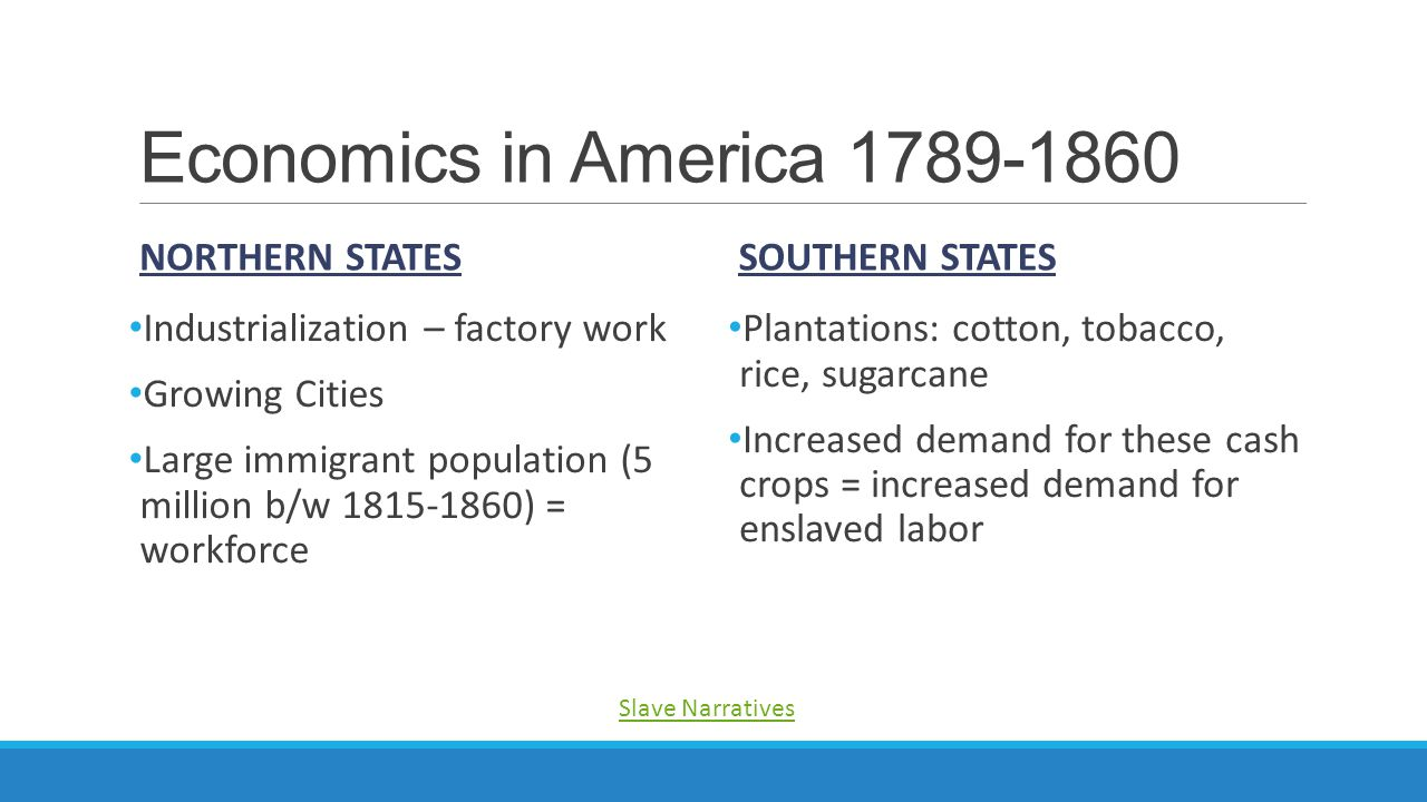 Economics in America 1789-1860 Northern States Southern States