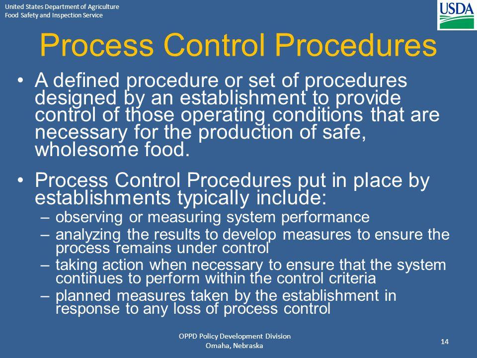 Process Control Procedures