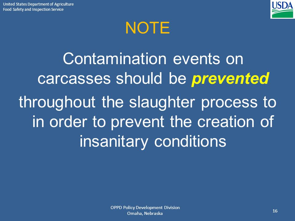 NOTE Contamination events on carcasses should be prevented.