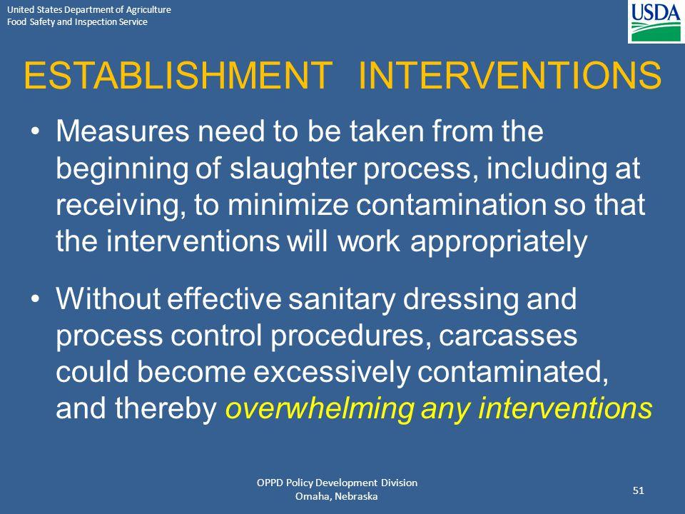 ESTABLISHMENT INTERVENTIONS