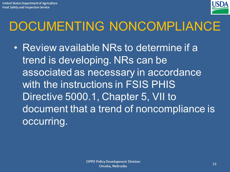 DOCUMENTING NONCOMPLIANCE