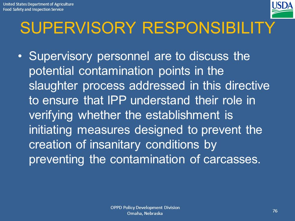 SUPERVISORY RESPONSIBILITY