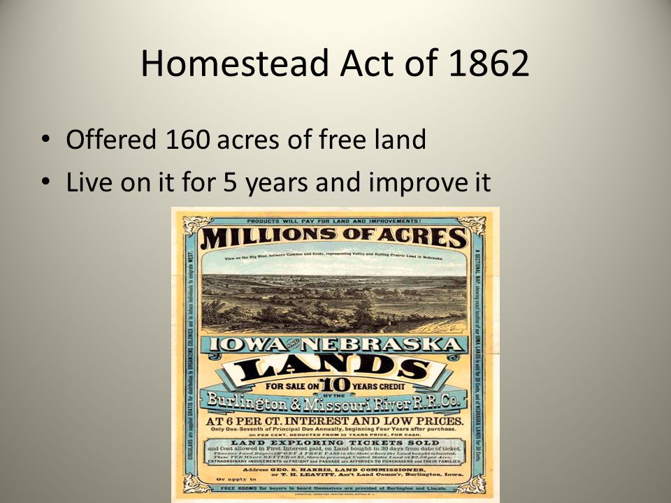 Homestead Act of 1862 Offered 160 acres of free land