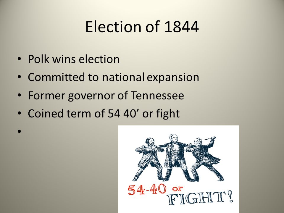 Election of 1844 Polk wins election Committed to national expansion
