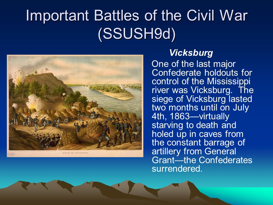 Important Battles of the Civil War (SSUSH9d)
