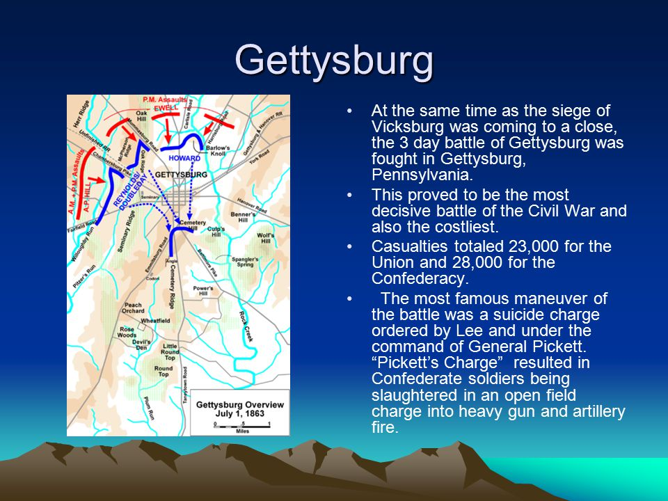 Gettysburg At the same time as the siege of Vicksburg was coming to a close, the 3 day battle of Gettysburg was fought in Gettysburg, Pennsylvania.