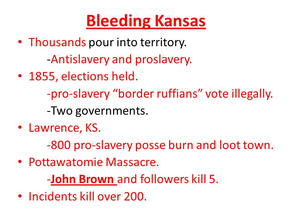 Bleeding Kansas Thousands pour into territory.