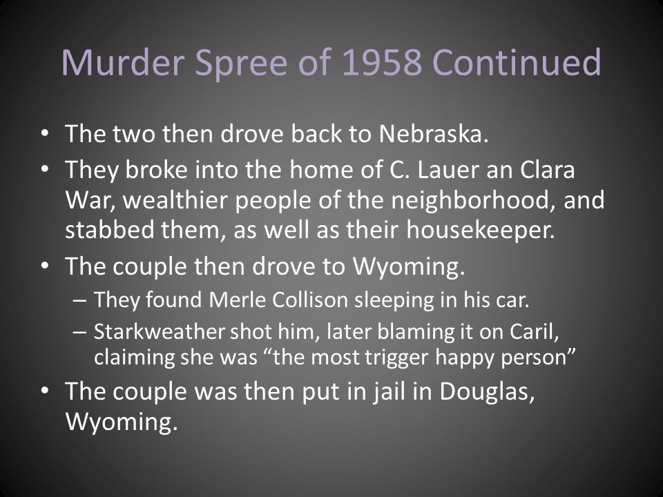 Murder Spree of 1958 Continued